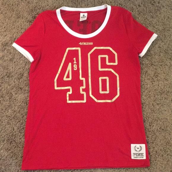 sale retailer 4032b 1042e VS PINK 49ers jersey t shirt